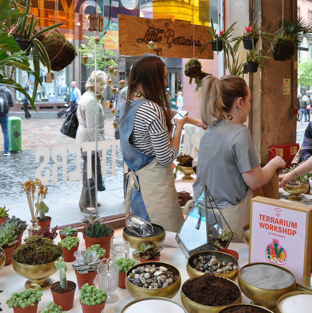 Pop-up terrarium workshop in Urban Outfitters, Buchanan Street, Glasgow.
