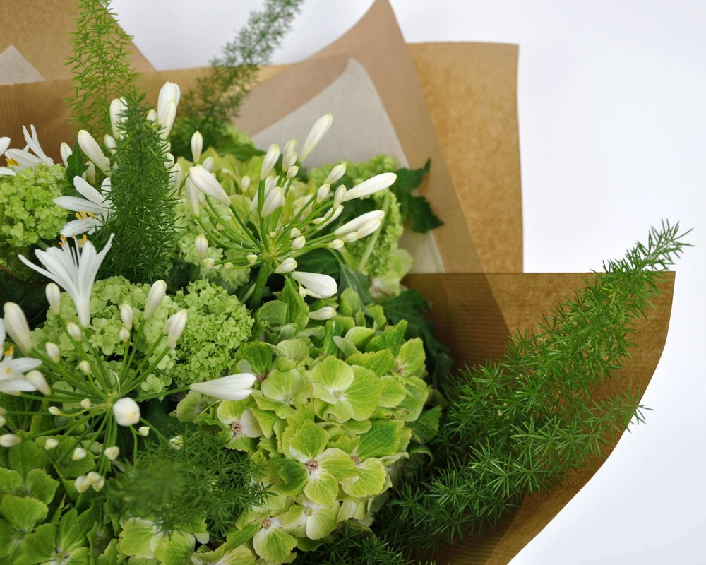 bouquet of flowers in brown paper for delivery