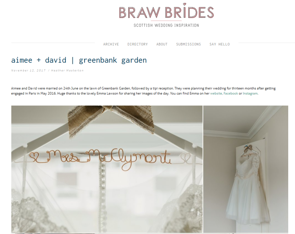 Little Botanica Glasgow Wedding Florist featured on Braw Brides Blog