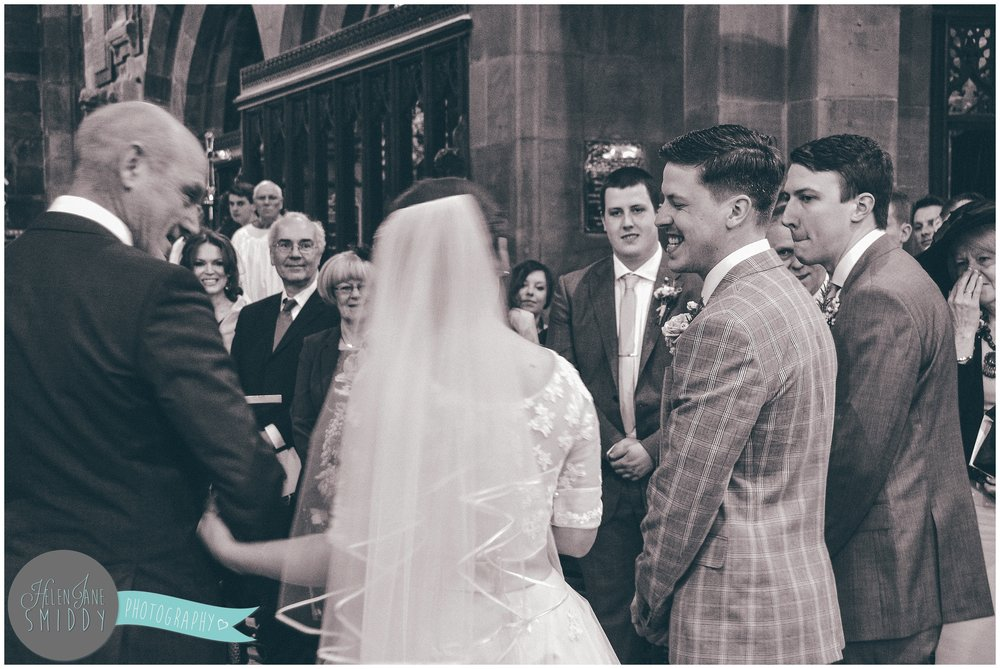 They said their vows in St Lawrence's church in Frodsham, Cheshire