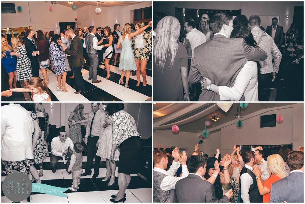 Wedding guests going crazy on the dancefloor.