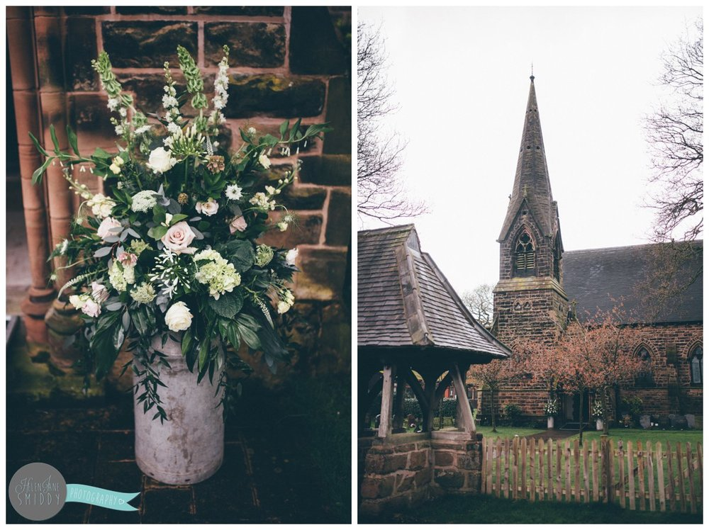 Outside the beautiful church in Knutsford there is a milk pot full of stunning pastel flowers.