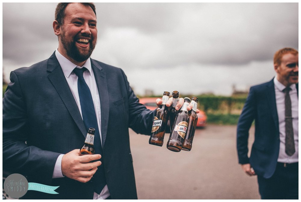 All the empty beer bottles are handed to the wedding guest before the wedding.