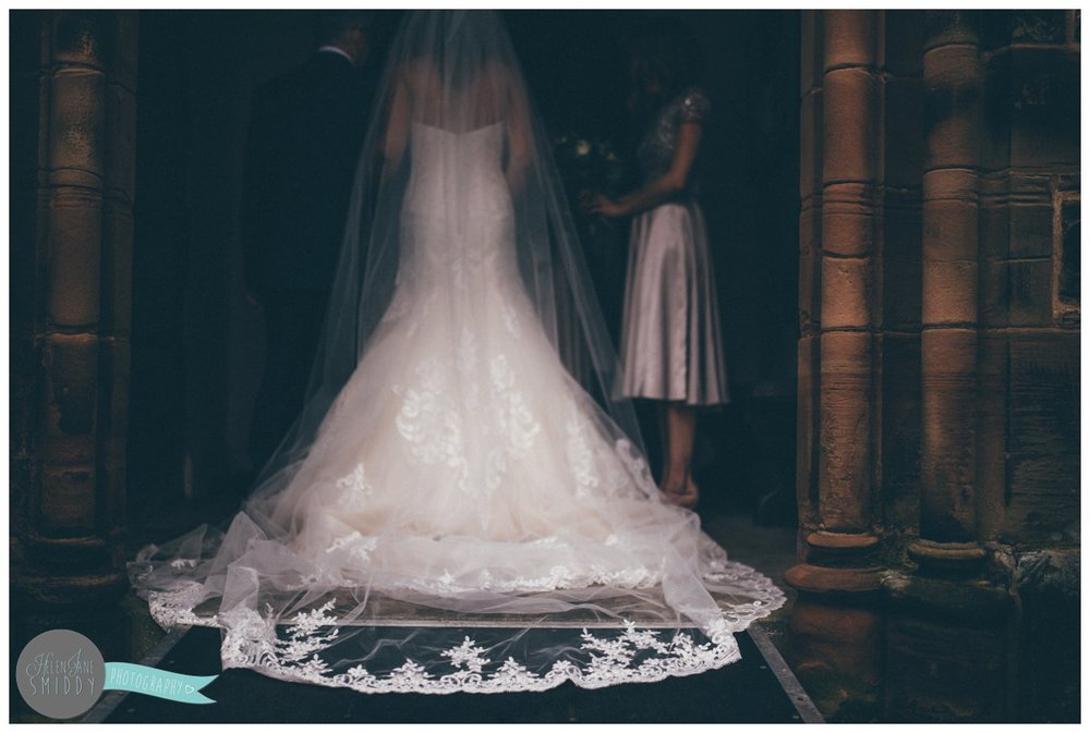 Closeup of the bride's stunning Maggie Sottero lace veil.