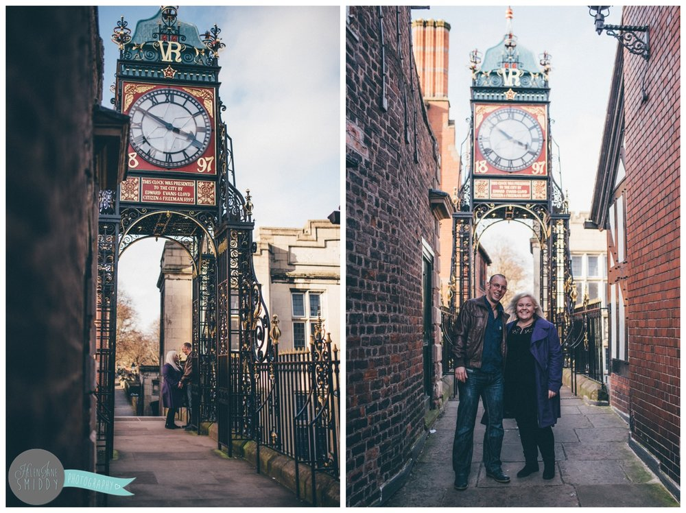 Couple walk towards their Cheshire wedding photographer for their engagement shoot in Chester city centre.