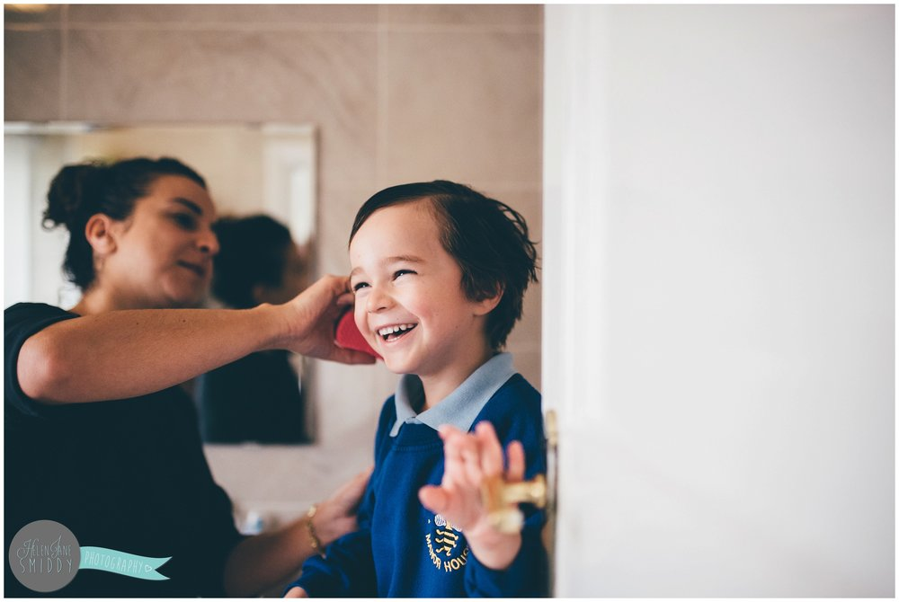 Isaac laughs so hard whilst his mummy jokes with him getting ready for school.
