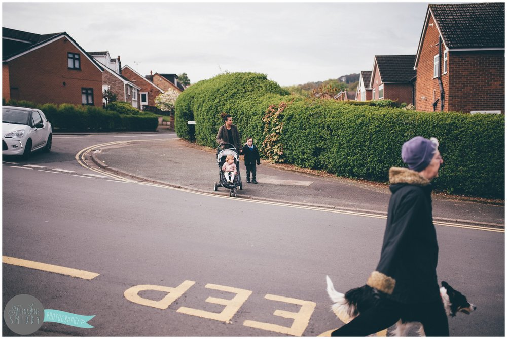 Walking to school during A Day In The Life photoshoot in Frodsham, Cheshire.