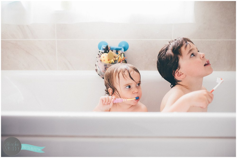 Bathtime in the Frodsham family home during an A Day In The Life photoshoot in Cheshire.