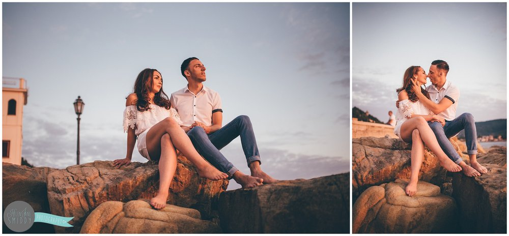 The young couple during their Engagement photoshoot in Santa Maria Di Castellabate, Italy.