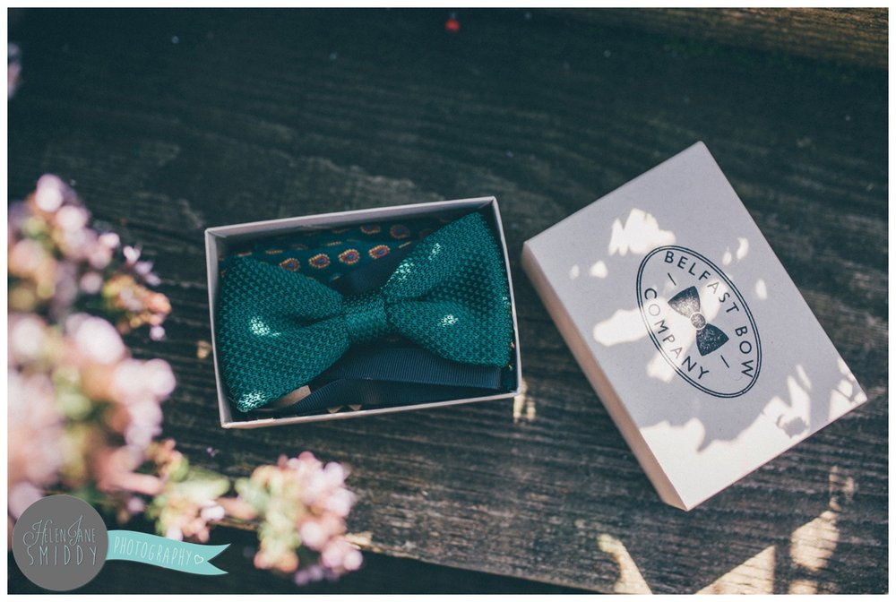The bow tie company supplied the groomsmen with wedding attire.