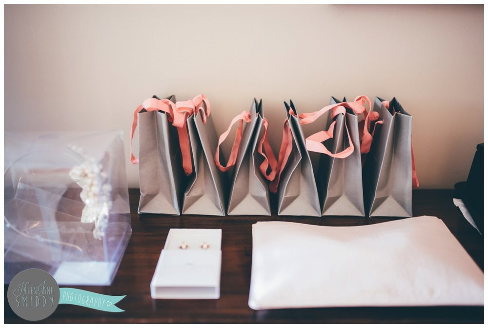 Gifts packed up for the bridesmaids on the wedding morning.