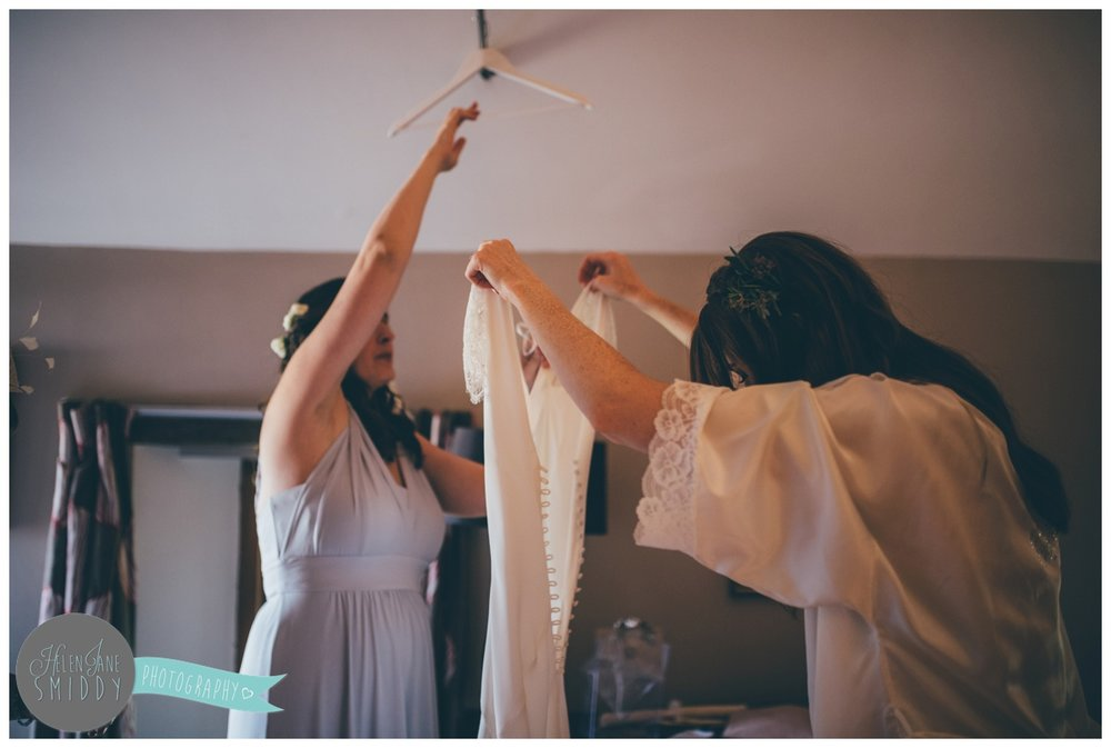 Bridal preparations photographed by Cheshire wedding photographer.