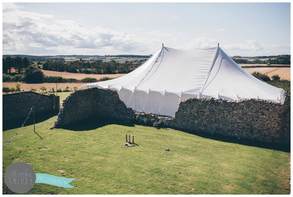 Beautiful marquee at wedding venue Barn Drift in Norfolk.