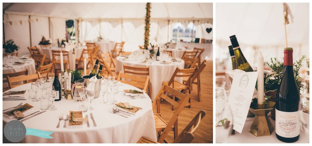 Beautiful wedding table details in a marquee in Norfolk.
