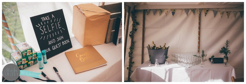 Beautiful wedding details in a marquee in Norfolk.
