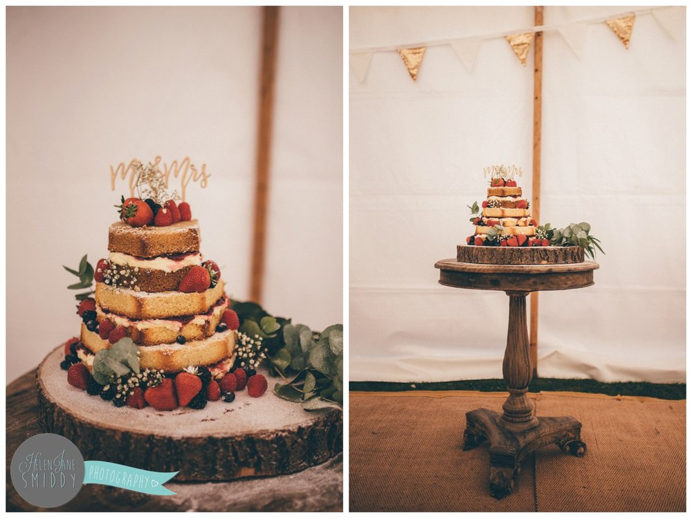 Stunning homemade naked cake at Barn Drift in Norfolk.