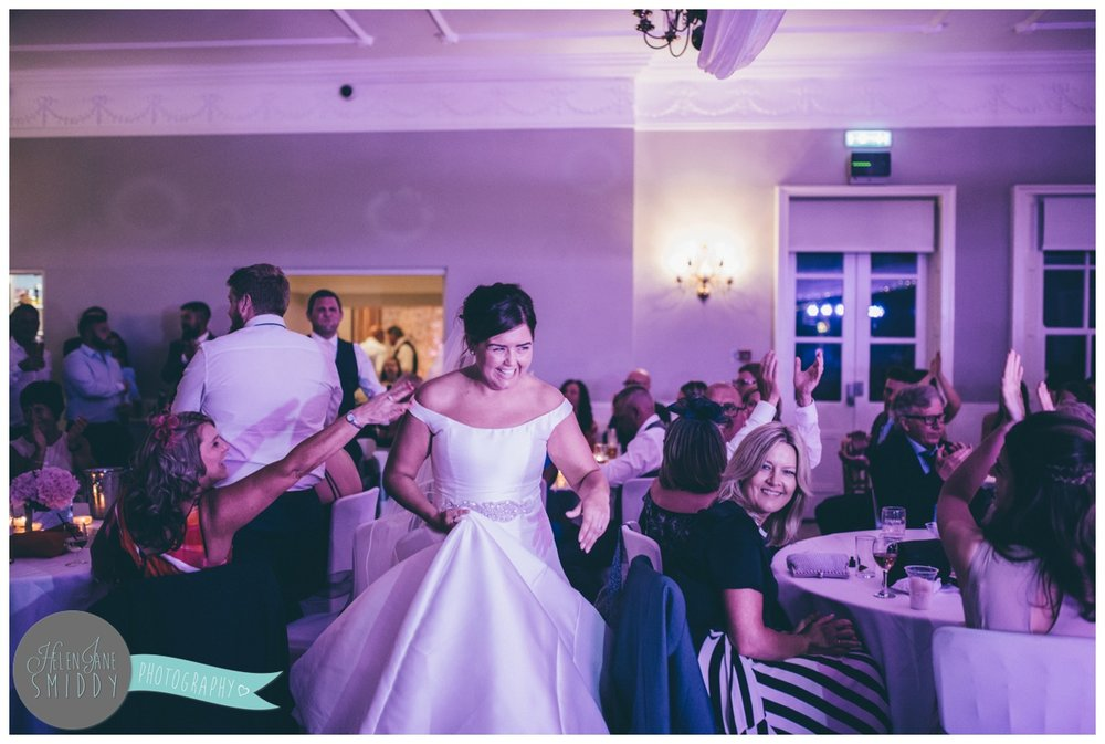 Wedding reception celebrations at Statham Lodge in Cheshire.