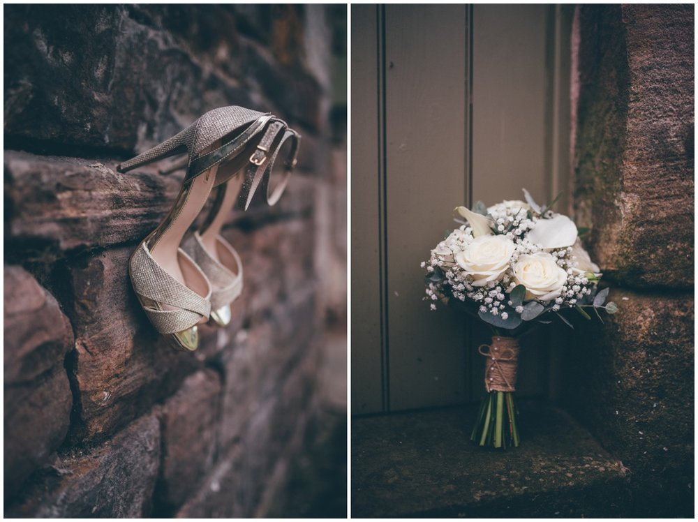 Beautiful bridal shoes and a gorgeous, rustic wedding bouquet.
