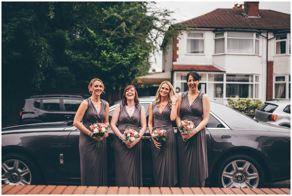 The bridesmaids are all ready to go to the ceremony in Manchester.
