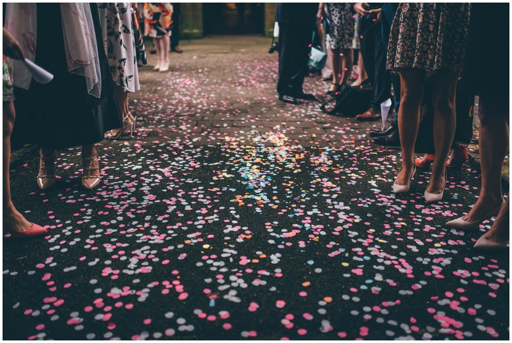 Beautiful and colourful confetti on the ground outside St Mark's Church in Worsley.