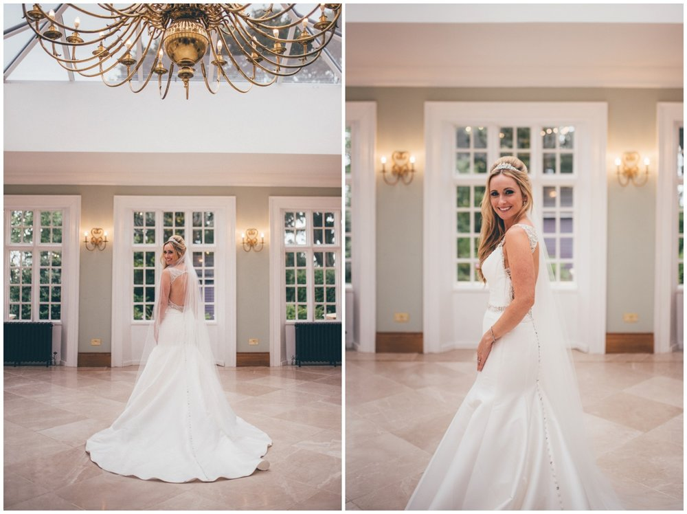 Beautiful bridal portraits in the Orangery at Willington Hall.