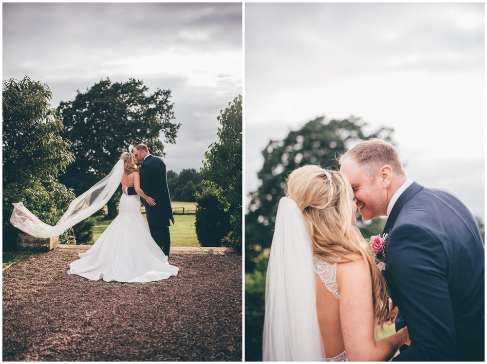 Couple portraits in the gardens at Willington Hall.