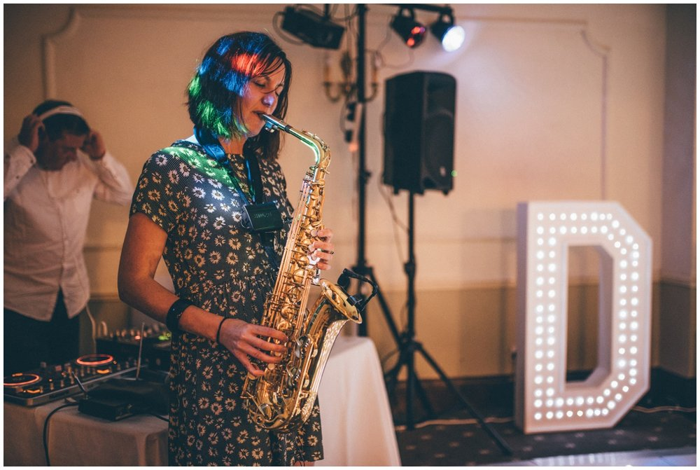 The newlyweds at Willington Hall chose to have a saxaphone player at their evening reception.