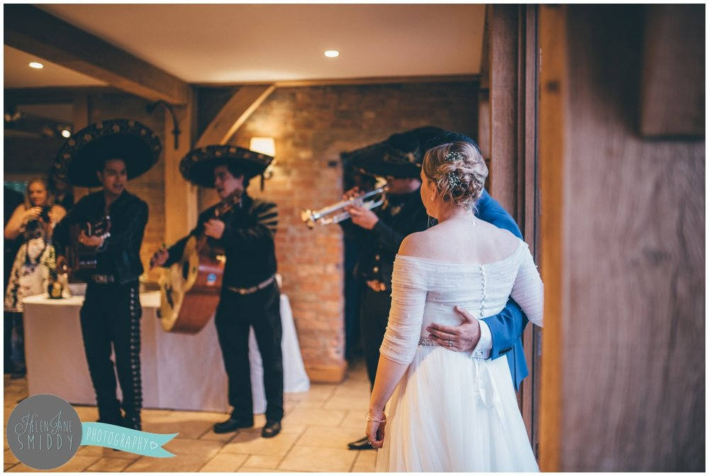 Surprised Mariachi band for all the wedding guests at Bassmead Manor Wedding barns.