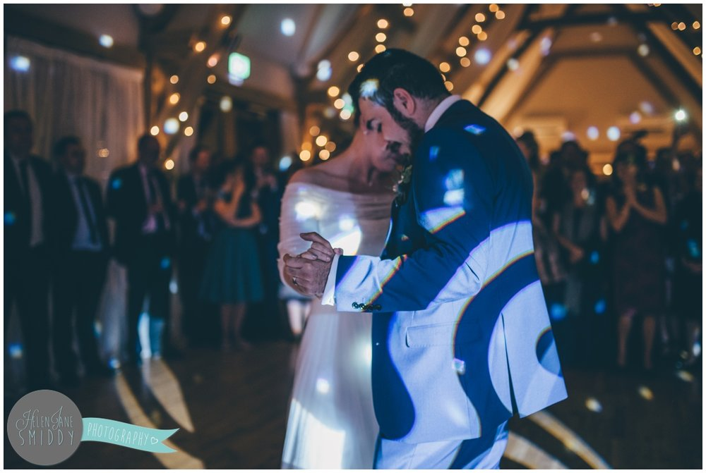 Cheshire wedding photographer captures First Dance at Bassmead Manor Barns.