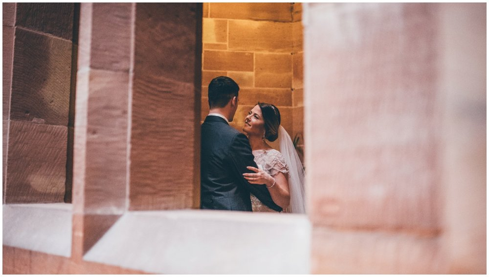 The couple have their photographs taken at Peckforton Castle.