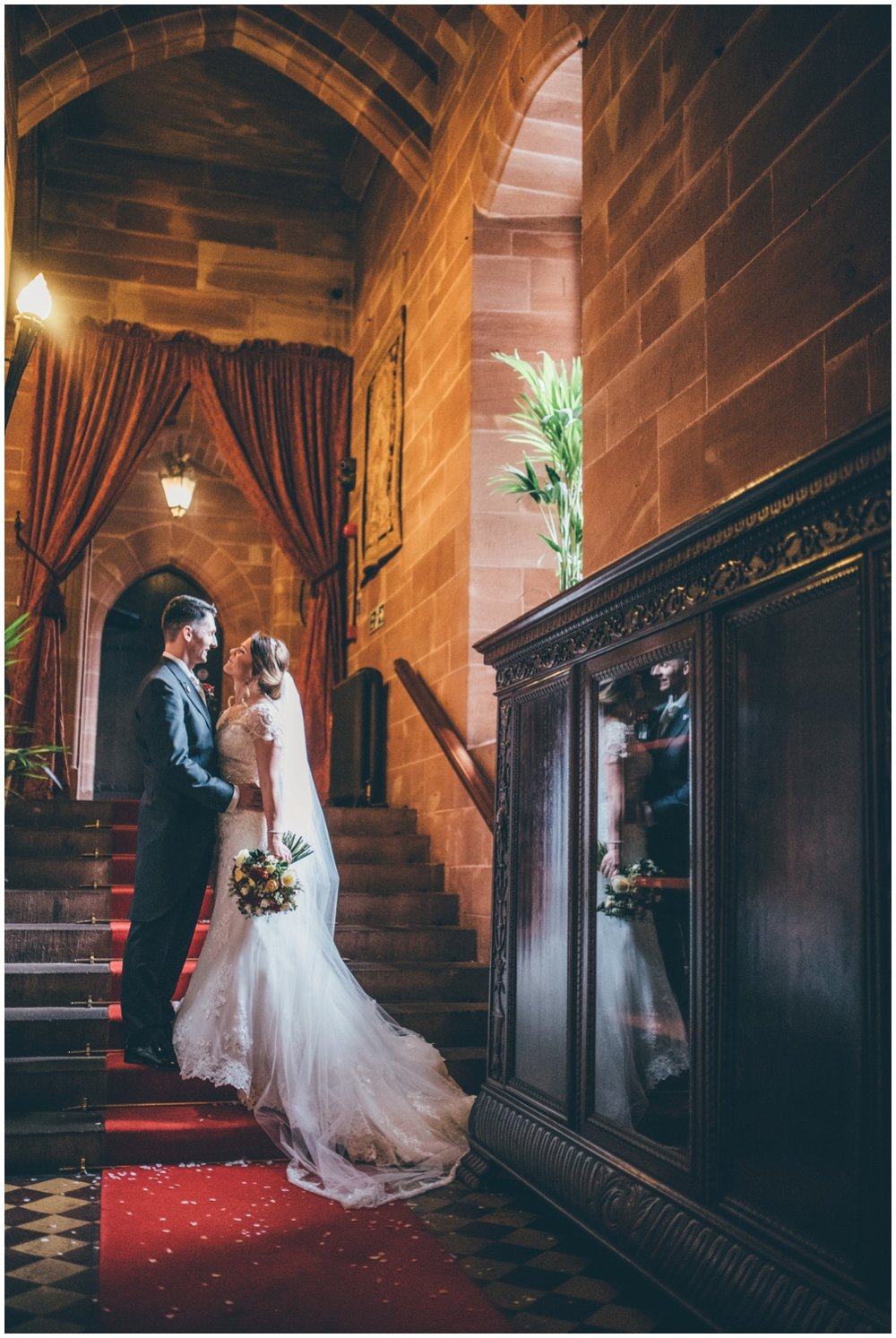 Peckforton Castle makes a beautiful backdrop for wedding photographs.