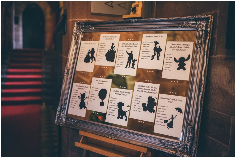 Disney themed table plan at Peckforton Castle.