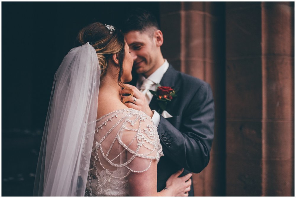 Stunning dress details at Cheshire wedding.