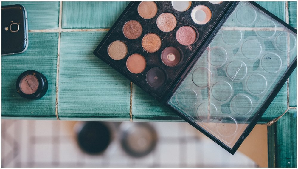 Make-up palette used to do the bride's makeup on her wedding morning.