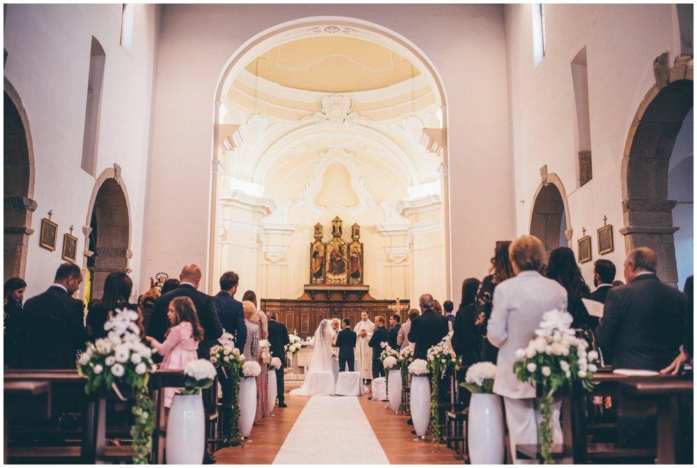Beautiful destination wedding ceremony in Santa Maria Di Castellabate, Italy.