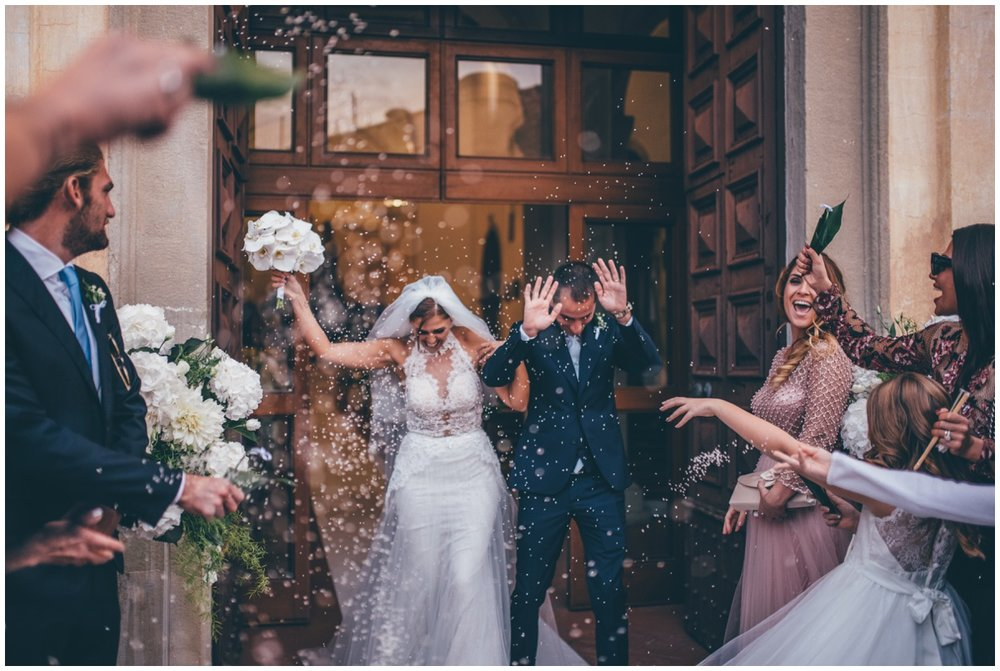 Gorgeous confetti thrown at the newlyweds in Santa Maria di Castellabate.