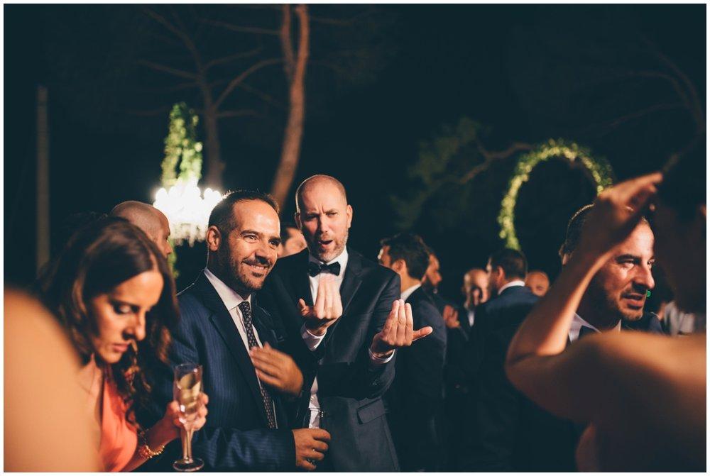 Italian wedding guests enjoying the reception.