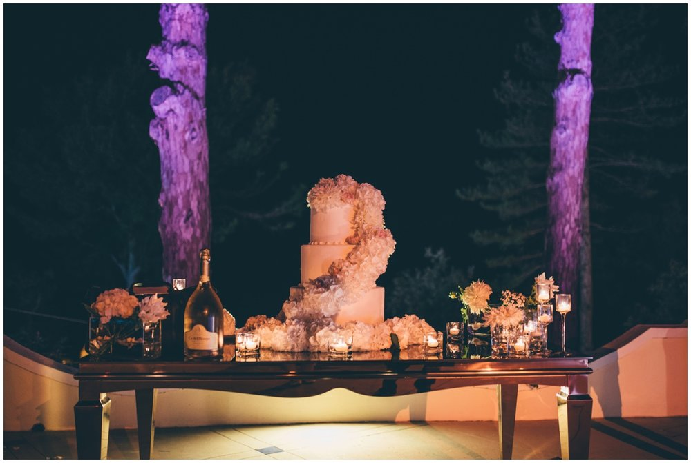 Stunning Italian wedding cake at the destination wedding.