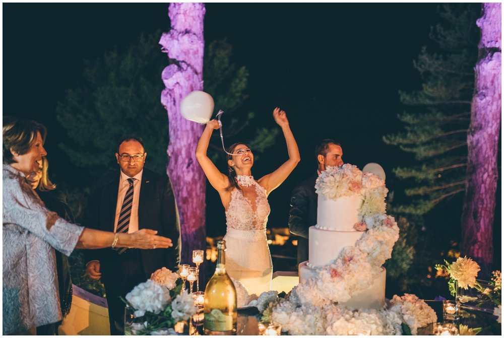 Beautiful bride celebrates on her wedding day.