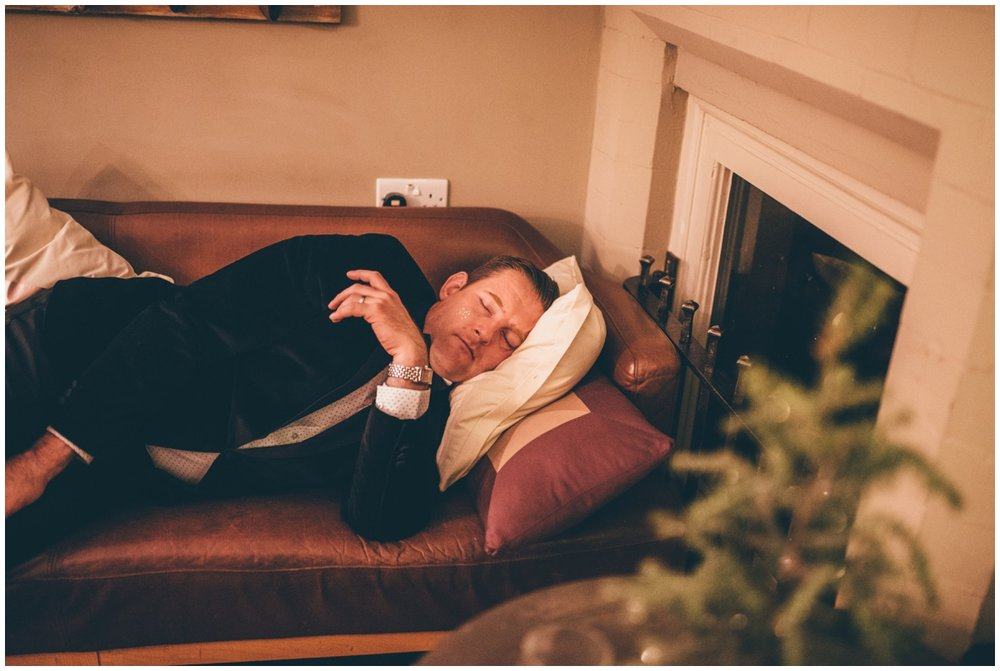 Wedding guest falls asleep at Great John Street on New Years Eve wedding.