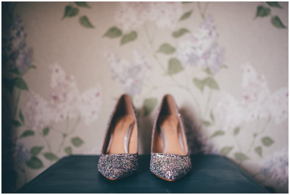 Beautiful sparkly wedding shoes.