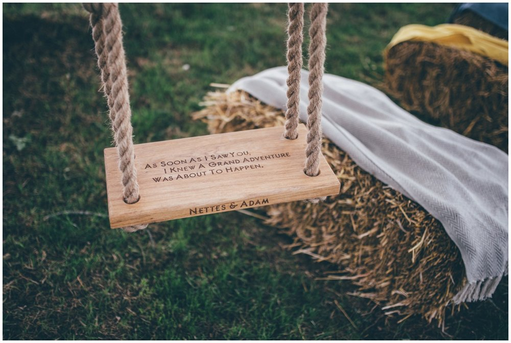 Personalised wedding swing in Staffordshire.