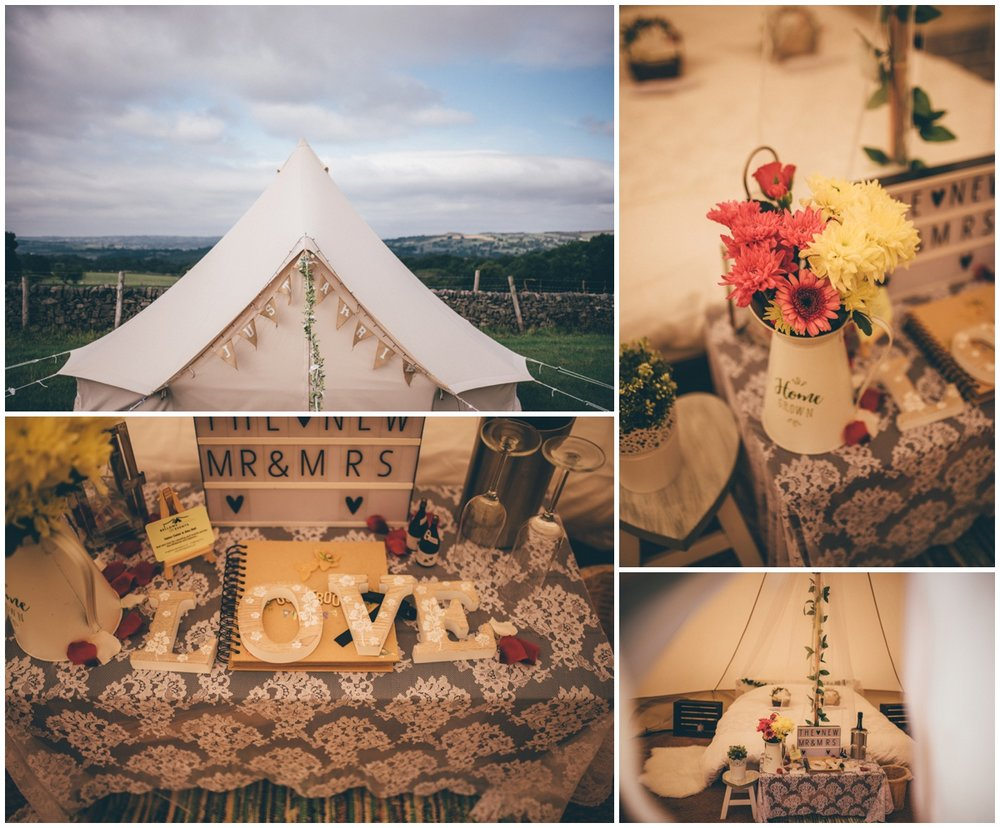 Bridal suite tipi for the newlyweds on their wedding night.