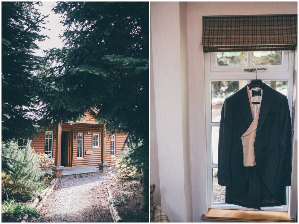 Log cabins at Delamere Forest for the groom and his groomsmen to get ready in.