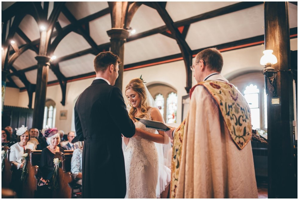 Wedding ceremony in St Mary's Church in Cheshire.