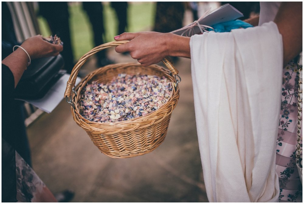 Basket of petals for wedding confetti.