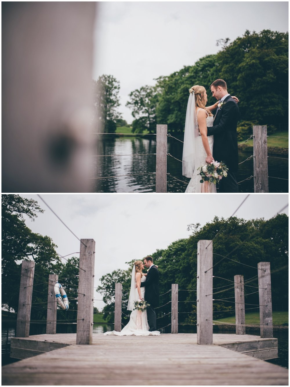 The bride and groom stand and cuddle on the jetty at Merrydale Manor.
