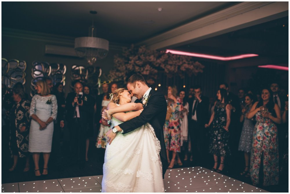 Bride and groom share their first dance at Merrydale Manor.