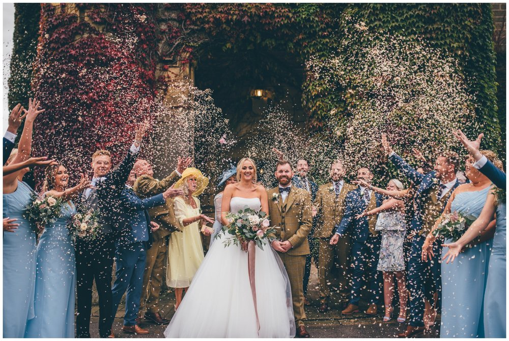 Stunning confetti shot at Swinton Park Estate wedding in Yorkshire.