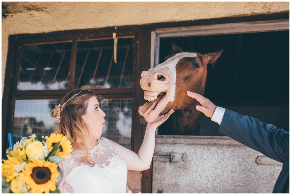 Hilarious photograph of a bride reaction to a horse getting in her face at a Kings Acre Wedstival wedding festival in Chester.